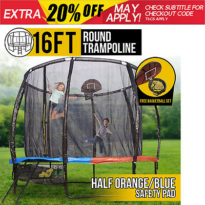 16FT Round Spring Trampoline with Half Orange/Blue Spring Pad and Basketball Kit