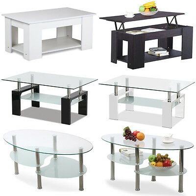 NEW High Gloss White Black Coffee Table MDF Lift Up Top Safety Glass Tabletop