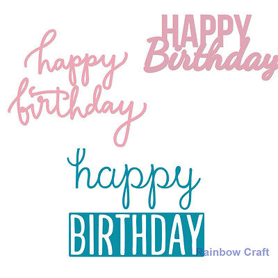 Decorative Die Words Happy Birthday - 4 selections suitable for most machines