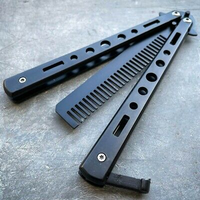 High Quality Practice BALISONG METAL BUTTERFLY Dull BLADE Trainer Knife BLACK