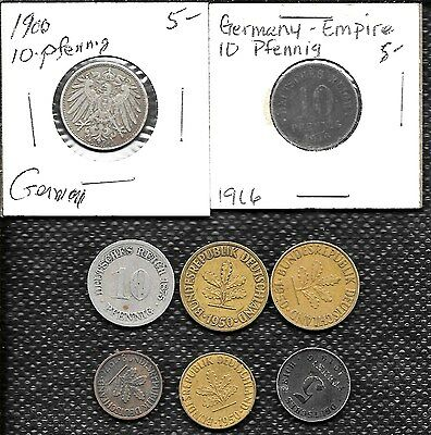 Lot Of 8 Mixed Old German Coins 1875 1900 1916 1919 1950 1976 Phennig