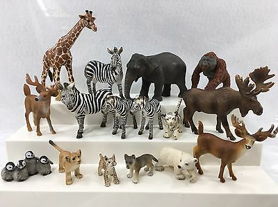 Schleich Animals Zoo Lot Elephant Giraffe Moose Zebra Deer Toy Collectible #1