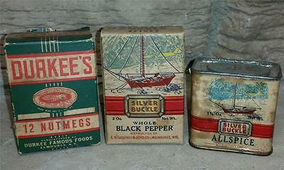 Antique Spice Tins/Boxes Silver Buckle Allspice/Black Pepper Durkee's Nutmegs