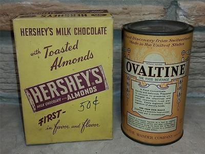 Vintage Hershey's with Almonds Candy Bar Box & Ovaltine Canister Advertising Lot