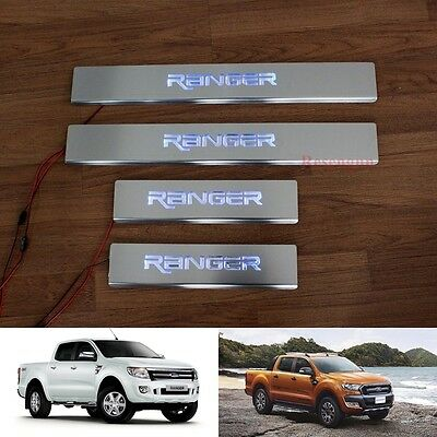 Blue Led Sill Scuff Plate Stainless Steel For Ford Ranger T6 Pickup 2012 - 2017