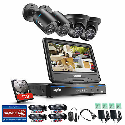 """SANNCE 1TB HDD 4CH 1080N DVR with 10"""" Monitor Home Security Camera System Remote"""