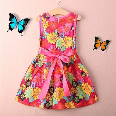 Girls Floral Print Sleeveless Dress Kids Summer Party Dresses Age 2-7 Years UK