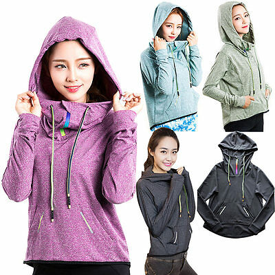 New Women Female Yoga Hooded Sweatshirt Quickdry Long Sleeve Zipper Fitness Tops