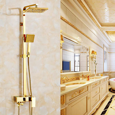 Luxury Polished Brass Gold Wall Mount Rain Shower Faucet Set with Tub Spout