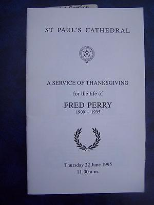 Fred Perry - Thanksgiving  Service program -