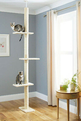 Floor To Ceiling Cat Tree *scratching Activity Play Pole Scratcher Climbing Post