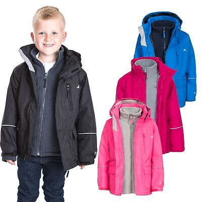 Trespass Prime II 3 in 1 Kids Waterproof Jacket Boys Girls Raincoat with Fleece