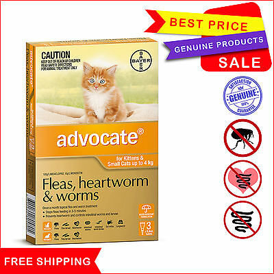 ADVOCATE for Cats Flea Heartworm Worm treatment Upto 4 Kg Orange Pack 3 Pipettes