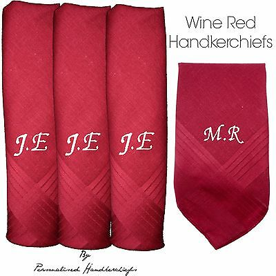 Wine Red 100% Cotton Embroidered Personalised Handkerchief Initials Name Gift