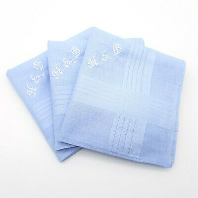 Light Blue 100% Cotton Embroidered Personalised Handkerchief Initials Name Gift