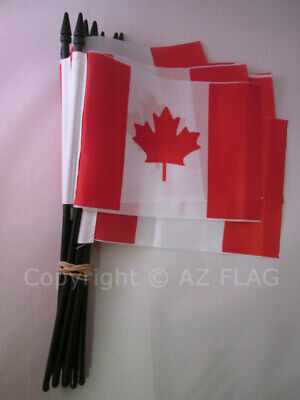 CANADA FLAG 4'' x 6'' black stick - CANADIAN FLAGS 10 x 15 cm - Light Polyester
