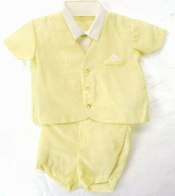 Vintage Nannette Yellow 2-Piece Boys Spring Outfit Suit Set Shirt/Shorts 12-24 M