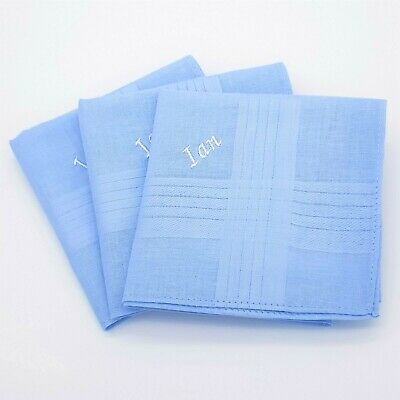 Light Blue 100% Cotton Embroidered Personalised Handkerchief Hanky Any Name Gift