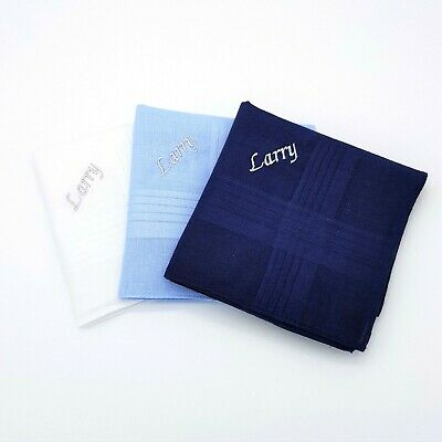 3 Blue White 100% Cotton Embroidered Personalised Handkerchief Any Name Gift
