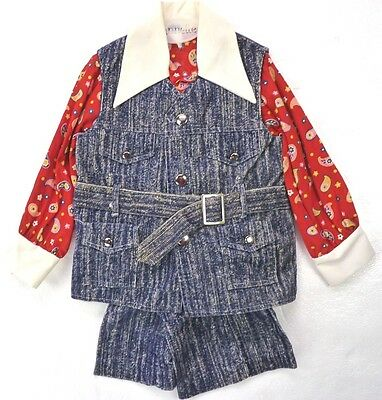 Vintage 70s 80s Good Lad 3-Pc Pants Suit Set Blue Corduroy Floral Shirt Vest 3T