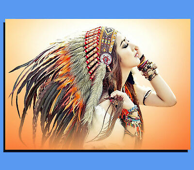 Box Canvas: Native American Indian Girl In Full Headdress 001 - Various Sizes