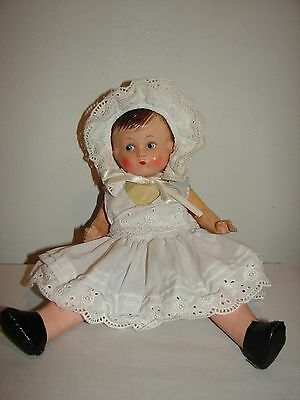 """Antique Composition Jointed German Doll Baby Girl Marked Germany 11.5"""" TLC"""