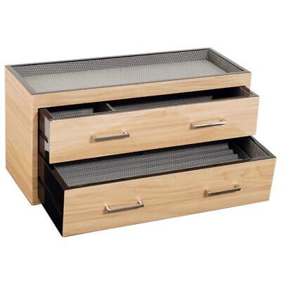 Wolf Meridian 2 Drawer Valet, Charging Station and Pen Box polished Blonde