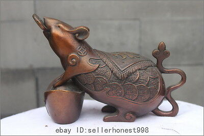 Chinese Red Bronze Copper Feng shui Wealth YuanBao Zodiac Mouse Statue