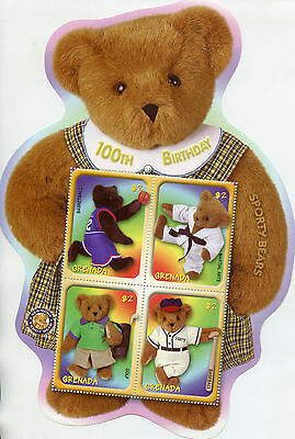 Grenada 2002 MNH Sporty Teddy Bears 100th Anniv 4v M/S Basketball Golf Stamps