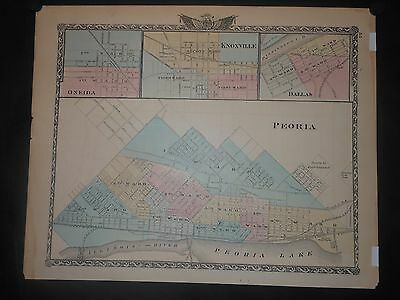 1876 Ward Map Peoria Oneida Knoxville Dallas Illinois Counties Streets Lakes