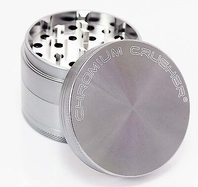Chromium Crusher 2.5 Inch 4 Piece Tobacco Spice Herb Grinder - (Gray)