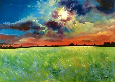 Limited Edition Stormy Sunset A3 Print of Original Oil Painting Landscape Sky