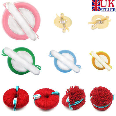 4 Size Pompom Maker Fluff Ball Weaver Knitting Needle DIY Tool Kit Bobble Craft