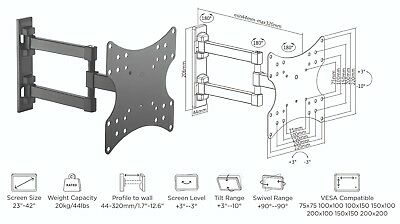 Full Motion Articulating TV Wall Mount for 23-42 Inches Flat Screen Displays