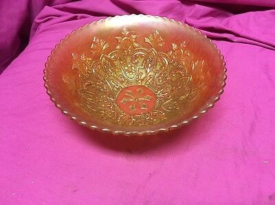 Vintage Peach/Pink Opalescent Carnival Glass Bowl