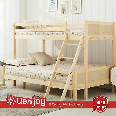 New Triple Pinewood Bunk Bed Kids Children Wooden Finished Bedroom Furniture