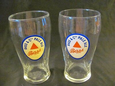 Vintage Group of 2 BASS PALE ALE Large Glass Advertising Tumblers