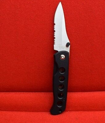"Stainless Steel Blade 4"" Aluminum Handle Pocket Knife Black"