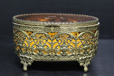 Jewelry Box Casket Filigree Ormolu Gilt Brass & Glass Trinket Dresser Box Vanity
