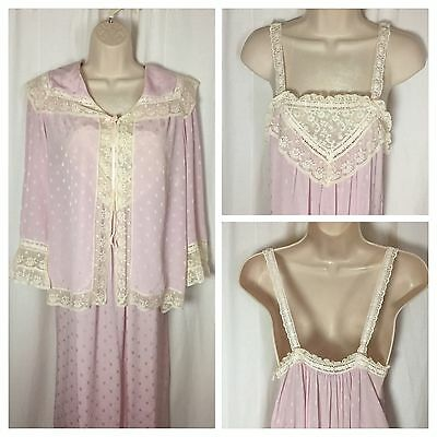 52 Vintage Christian Dior Lingerie S Pink 2 Piece Robe Top Negligee Lace Gown