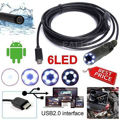 Android Endoscope USB Waterproof Inspection Camera 6LED For Samsung Smart Phone