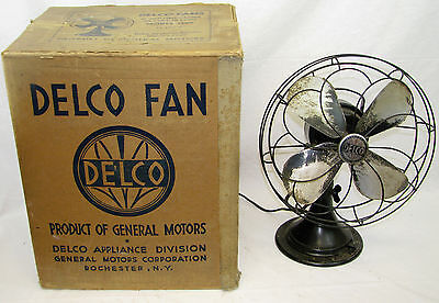 Vintage Delco Model 1600 Electric Table Fan W/Original Box