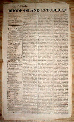 Rare original 1813 RHODE ISLAND REPUBLICAN newspaper Providence RI - WAR of 1812
