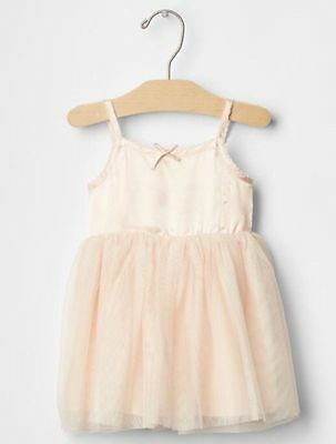 GAP Baby Girls Size 0-3 Months Pink Satin / Tulle Ballerina Party Dress w/Bow