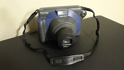 Fujifilm Instax 100 Instant Camera! Blue & Black with Strap! Fujinon Lens 95mm