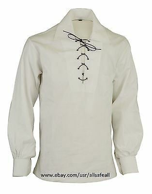 Scottish GHILLIE KILT SHIRT in White Colour Jacobite Jacobean