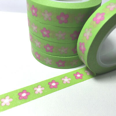 Washi Tape Thin Pink Flowers On Green 10Mm X 10Mt Planner Scrap Plan Craft