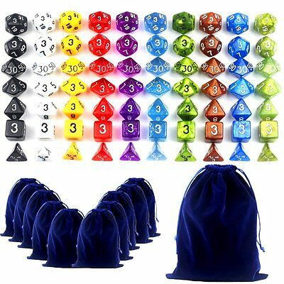 70 Polyhedral Dragons Dice 10 Complete Sets Of Seven Dice & 11 Dice Bags