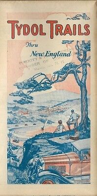 1928 TYDOL VEEDOL Road Map NEW ENGLAND Boston Providence Hartford Long Island
