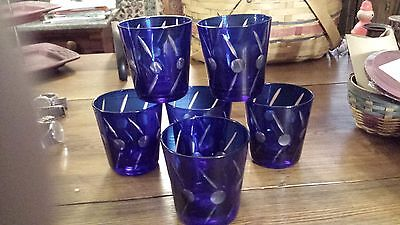 6 COBALT BLUE CUT TO CLEAR Double Old Fashioned Glasses Tumblers